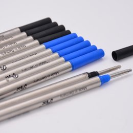 Wholesale Office Student - 10pcs lot MB High Quality Black or Blue Ink Refill Stationery 0.7mm Rollerball Pen Ink Refills For Writing