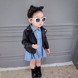 Wholesale Toddlers Girls Winter Coats 5t - Infant Baby Winter Autumn Outerwear Boys Girls Coat Toddler PU Leather Jacket Coat 2-6Y