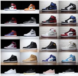 Wholesale B 24 - 24 Colors Hot Collection Retro 1 Banned Chicago Mid hare man basketball shoes Shattered Backboard sports shoes size eur 41-47 free shipping
