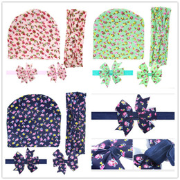 Wholesale Girls Hat Floral - 4pcs Baby Hats+ Bunny Headbands +Elastic Headband+Hair Clips Set Girls Cotton Floral Bow Hairbands Kids Flower Hair Accessories KHA565