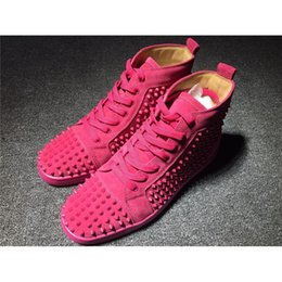 Wholesale Wholesale Red Bottoms Sneakers - High Top Studded Spikes Casual Shoes Red Bottoms Luxury Shoes 2017 New For Men and Women Party Designer Sneakers Lovers Genuine Leather