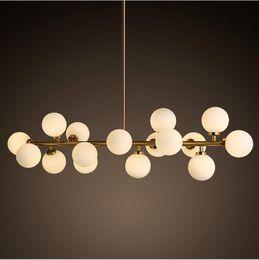 Wholesale North Europe Lighting - North Europe LED art glass chandelier led pendang light 16 18 Globes glass lampshade chandelier LED lighting fixture