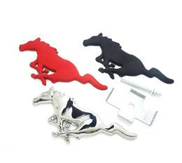 Wholesale Car Alloy Emblem Logo - 3D Silver Horse Logo Metal Alloy Car Auto Front Hood Grille Emblem Sticker for Ford Mustang Universal New
