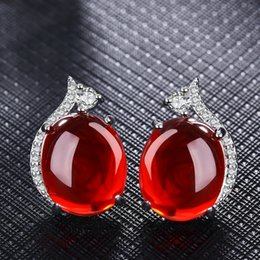 Wholesale Vintage Ruby Stud Earrings - Fashion Red Corundum Gemstone Platinum Plated earrings Elegant Synthetic Ruby earrings for Women Vintage Crystal Jewelry For Girls 2 Colors