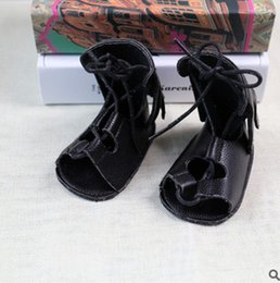 Wholesale Lace Up Buckle Strap Boots - Baby Girls kids Roman Sandals kids Bows hollow lace-up bows soft Sandal Shoes children High-boot Campagus boots girls toddler sandals T3473