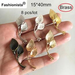 Wholesale Calla Lily Pendant - 8 pcs Brass Calla Lily Pendant,15*40mm Brass Casting Calla Lily Charms,5 Colors: Bronze,Gold-color   Silver-color   Steel-color