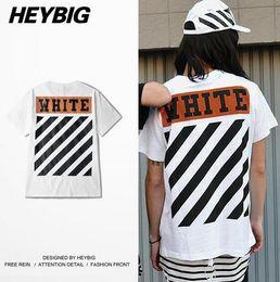 Wholesale Skate Shirt Long Sleeves - Off White diagonals T-shirt Men 2017 Skate Tee American Fashion streetwear HEYBIG Youth hiphop Shirts Chinese Size clothing