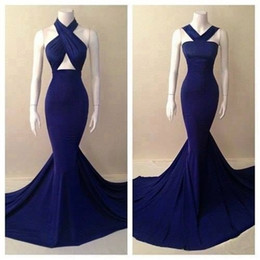 Wholesale Keyhole Halter Top - Real picture 2017 Evening Gowns top quality two designs halter royal blue chiffon gorgeous mermaid prom dresses cheap girls