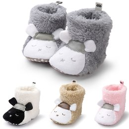 Wholesale Wholesale Leather Shoes Boots - Newborn Winter Boots 0-18M Panda Cartoon Baby Cotton-padded Shoes Anti-slip Snow Boots Winter Infant Toddler Walking Shoes Prewalkers