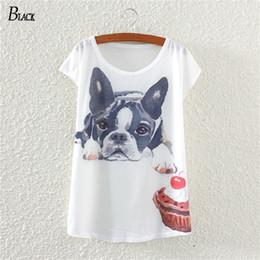 Wholesale T Shirt Bat Sleeves Pattern - Wholesale-BLACK Brand 2016 Newest Style Women T-shirt The Bulldog Printing Pattern Bat Sleeve Harajuku Losse Women's T Shirt