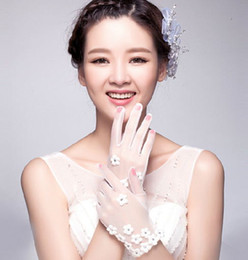 Wholesale White Tulle Gloves - Free Shipping Cheap In Stock Sheer Tulle Appliques Beads Wrist Length With Flower Pattern Bridal Gloves Wedding Accessories
