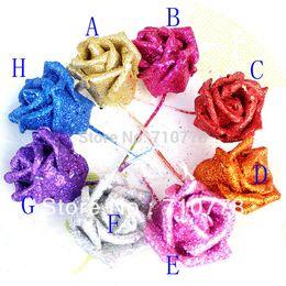 2019 tiges de bouquet de mariage Gros-100 PCS 8 couleur sartificial pe paillettes rose poudre d'or rose avec tige bricolage arc de mariage fleur boule bouquet décoration tiges de bouquet de mariage pas cher