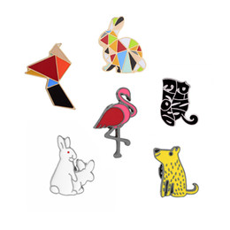 Wholesale Cartoon Clothes Button - Wholesale- Creative Cartoon Geometric Multicolor Rabbit Flamingo Cute Cat Enamel Brooch Pins Denim Clothes Shirt Button Pin Animal Brooches