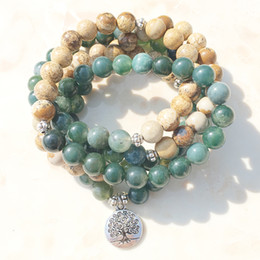 Wholesale Wholesale Moss - SN1005 Moss Agate Picture Jasper 108 Mala Beads Yoga Necklace Tree Of Life Mala Wrap Bracelet Everything About Nature and Meditation Jewelry