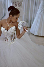 Wholesale Tulle Corset Bling - Luxurious Bling Strapless Wedding Dresses Corset Bodice Sheer Bridal Ball Gown Crystal Pearl Beads Rhinestones Tulle Bridal Gowns
