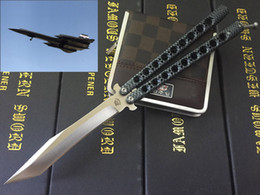 Wholesale Bird Hunting - New The one 29CM Black Bird Balisong Butterfly Knife 440C blade Whole stainess steel Handle Carbon fiber BM BM42 Camo