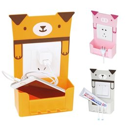 Wholesale Pig Home Decor - Wholesale- Cartoon Power Cord Socket Storage Box Cute Animals Switch Storage Box Pig Panda Bear Dog Switch Sticker Home Decor Container s2