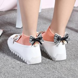 Wholesale 7colors Short - 7colors Women summer Socks with Ruffle Bow bowknot pearl sox solid striped color autumn Ankle short sock Drop shipping ST020