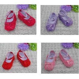 Wholesale Wholesale Baby Silk Fabric - Chiffon Rose Flower Baby Shoes For Toddler Kids Childrens Size 11cm Non-slip Soft Sole Foot Wear