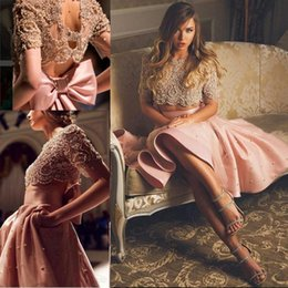 Wholesale Backless Half Sleeve Homecoming Dress - 2017 Arabic Two Pieces Cocktail Dresses Jewel Neck Crystal Beads Short Half Sleeves Hollow Back Bow With Pockets Homecoming Dress Prom Gown