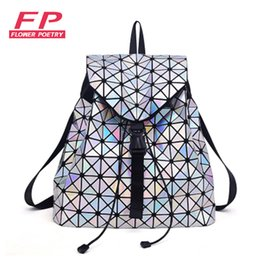 Wholesale Colour Bags - Wholesale- Colour Laser Backpack for Teenage Girls Women Drawstring Fold Geometry Mirror Geometry Quilted Backpack Sac Bao Bao School Bags