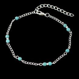 Wholesale Feet Stones - Feelshine Bohemian Jewelry Summer Silver Color Chain Blue Stone Anklets Beach Barefoot Sandals Foot Jewelry Anklets