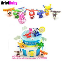 Wholesale Plastic Birthday Cake Toppers - New 8pcs Plane Toys Super Wings Airplane Mini Model Deformed Aircraft Robot Boys Birthday Gift Cake Toppers Brinquedos