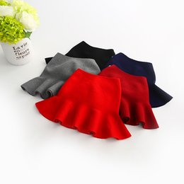 Wholesale Korea Girls Style - Christmas Girls Knit Skirts Petal Solid wool Skirt Boutique girls clothing Sweet Korea style Red New Year clothing 2017 Fall Winter