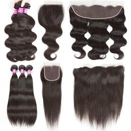 Wholesale Indian Remy Weave Brown - Brazilian Body Wave Peruvian Malaysian Straight Virgin Human Hair Weaves With Closure Unprocessed Indian Remy Hair Bundles And Lace Frontal