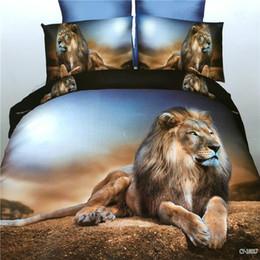 Wholesale Lion Comforter Sets King Size - 3d Bedding Sets Black Lion Printed Queen Size 4pcs Bed Set Bedclothes Bed Linen Bed Sheet Bohemian Duvet Cover Set