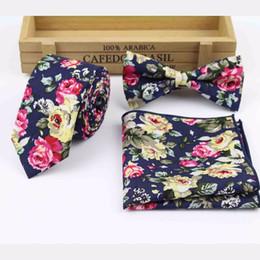 Wholesale Mens Designer Bow Ties - Wholesale- Mens Designer Skinny Flower Rose Paisley Pocket Square Handkerchief Butterfly Bow Tie Ties Set Lots