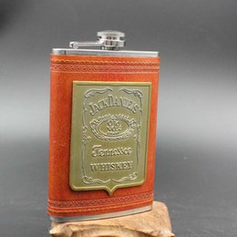 Wholesale Flask Engraving - Wholesale- 9oz Luxury Brown PU Stainless Steel Hip Flask Faux Leather Whiskey Wine Bottle Retro Engraving Alcohol Pocket Flagon