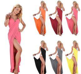 Wholesale Scarves Sash - 2017 New women backless bandage dresses Multi-colored beach skirt bohemia flower towel beachwear clothing long scarf
