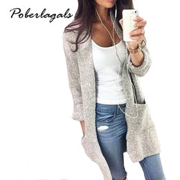 Wholesale Women Long Cardigan - Wholesale-2016 Autumn Winter Fashion Women Long Sleeve loose knitting cardigan cardigan sweater Womens Knitted Female Cardigan pull femme