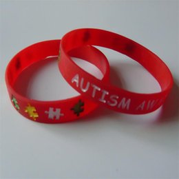 Wholesale Charm Rubber Bracelet - 50PCS High Quality AUTISM Debossed And Ink Filled red and black color rubber wristbands for gifts Y040801