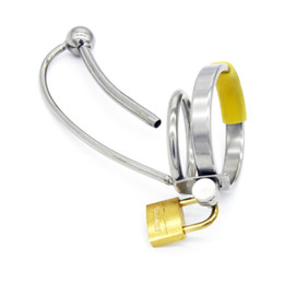 Wholesale Chastity Metal Male Insertion Devices - Male Urethral Sound Lock In Chastity Device 4 Rings size Fetish Metal Sex Toy Catheter Insertion Chastity Cage for Men G103