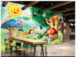 Wholesale Korean Mushroom Cartoon - 3D photo wallpaper custom size mural non-woven wall Romantic Mushroom Cartoon Kids Room Backdrop 3D Mural wallpaper Free shipping