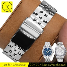 Wholesale 22mm Stainless Bracelet - 18mm 20mm 22mm 24mm Stainless Steel Watch Straps for Breitling Watch AVENGER OCEAN Bracelets CHRONOMAT Man Silver Gold+ Tools