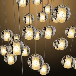 Wholesale Lighted Shower Heads Rain - LED Crystal Glass Ball Pendant Lamp Meteor Rain Ceiling Light Meteoric Shower Stair Bar Light Droplight Chandeliers Light 5 7 14 26 36 Heads