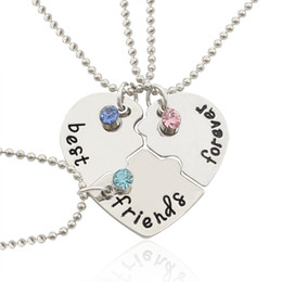 Wholesale Wholesale Best Friends Jewelry - 2017 Fashion Best Friends Forever Pendant Necklaces Crystal Puzzle Broken Heart BFF Beads Chain Necklace Love Friendship Jewelry Wholesale