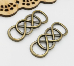Wholesale Eight Connector - 100Pcs Lot double 8 Eight Infinity pendant Charms connectors link Antiqued Bronze Vintage For diy necklace Jewelry Making findings 33x13mm