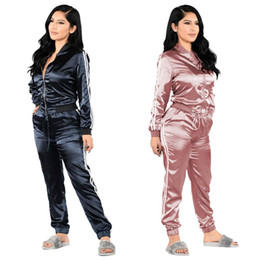 Wholesale Tracksuit Women Flowers - 2017 High Quality Women Set Printing Flowers Sexy European Classic PULL Bar Two Color Suit Casual Silk Blend Pencil Pants Ladies Tracksuits