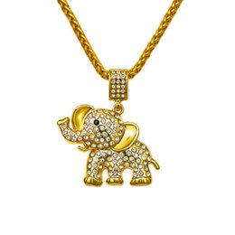 Wholesale Long Gold Elephant Fashion Necklace - 2017 Hip Hop Pendant Crystal Necklace Bling Rhinestone Fashion Gold 75cm Long Chain Elephant Pendants & Necklaces Jewelry Gift