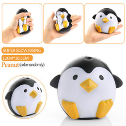 Wholesale Cute Kids New - 2017 New Brand 11CM Jumbo Kawaii Cute Penguin Squishy Slow Rising Phone Straps Soft Sweet Charm Scented Bread Cake kid Toy Gift