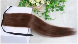 2019 pinza de pelo indio de cola de caballo Cabello brasileño Cola de caballo Cabello humano Cola de caballo 20 22 pulgadas 100 g Extensiones de cabello de clip indio recto más color
