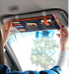 Wholesale Auto Phone Bags - Home Car Organizer 3 colors multi-purpose Sunvisor point pocket auto car hanging storage bag canvas for credit card phones business card