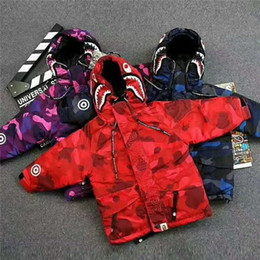 Wholesale Boys Items - Clearance Item Children Winter Thick Camouflage Shark Zipper Hooded Cotton-padded Coat Boys and Girls Embroidery Jackets