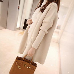 Wholesale Long Solid Color Warm Knit - Wholesale-Women Cardigan 2016 Autumn Winter Fashion Designer Plus size Loose Sweater Warm Knitted Outwear Female Solid Color Long Cardigan