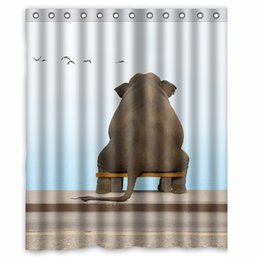 Wholesale Bathroom Benches - An Elephant sits on a bench in deep contemplation custom Shower Curtain Bathroom decor fashion design Free Shipping 150x180 cm