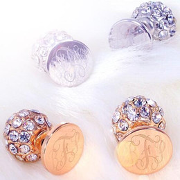 Wholesale Cameo Backing - Trendy Gifts Wholesale Small Business Cameo Jewelry Monogrammed Disk Paved Crystal Rhinestone Ball Double Stud Earrings
